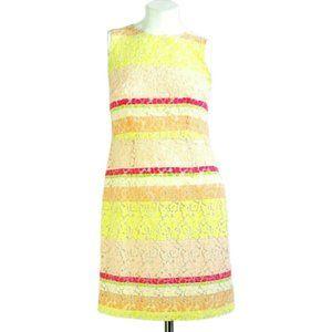 Ann Taylor Lace Colorblock Sleeveless Sheath Dress